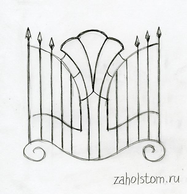 Пальметта в декоративной оконной решётке. Художник Алексей Епишин.
