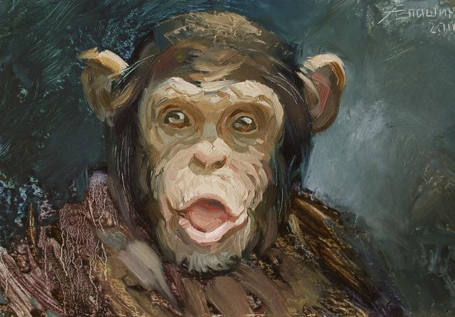"""""""Портрет шимпанзе"""". Картон, масло. Художник Алексей Епишин"""