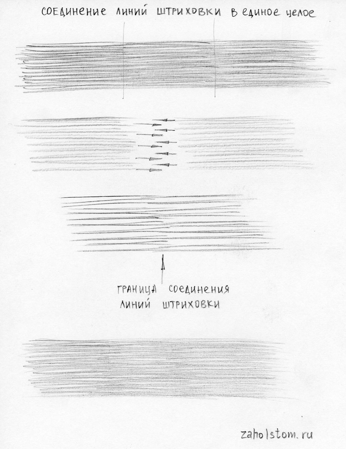Соединение линий штриховки
