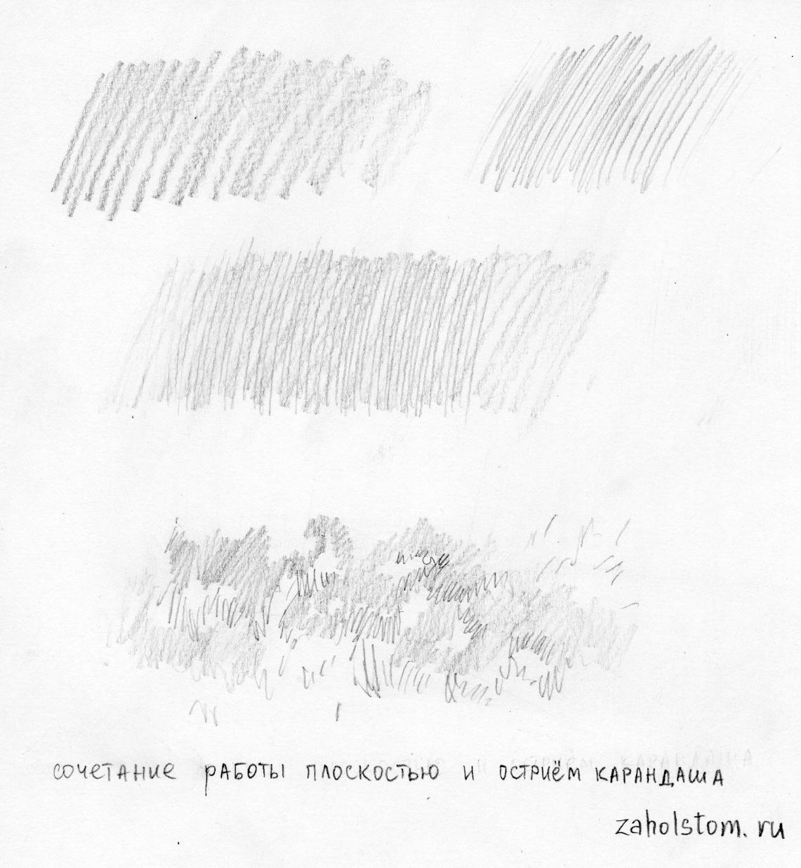 Сочетание широких и острых линий штриховки