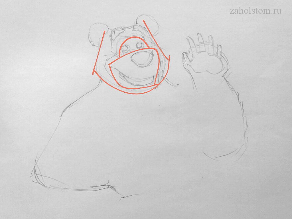 000_2 Маша и Медведь. Поэтапный рисунок карандашом