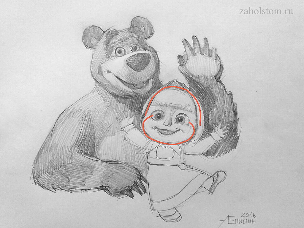 000_3 Маша и Медведь. Поэтапный рисунок карандашом