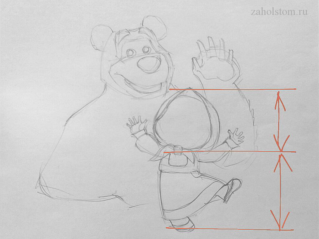 000_4 Маша и Медведь. Поэтапный рисунок карандашом