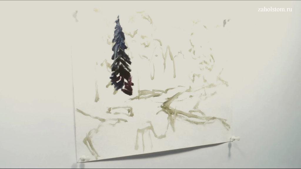 001 Живопись маслом. Пейзаж с рекой и лесом