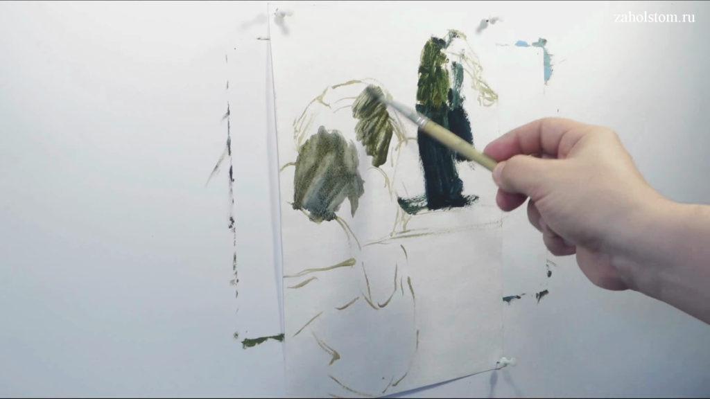001 Живопись маслом. Подробная прорисовка пейзажа