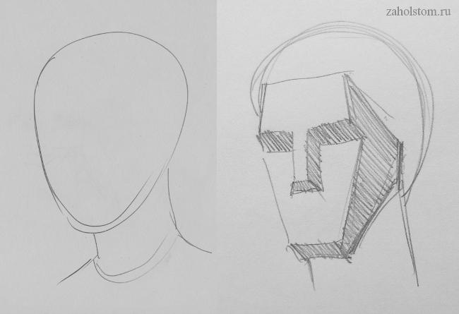 001 Как рисовать портрет. Упрощенно-схематичное изображение головы