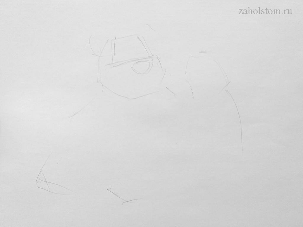 001 Маша и Медведь. Поэтапный рисунок карандашом