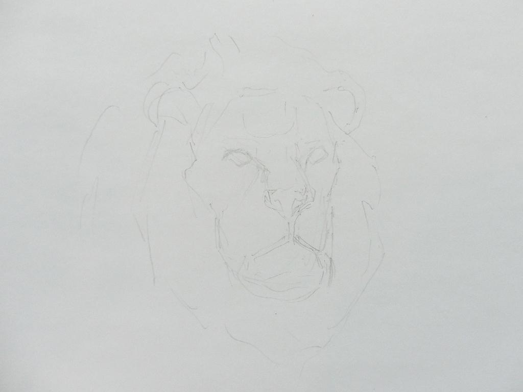 001 Портрет льва. Живопись акварелью. Алексей Епишин