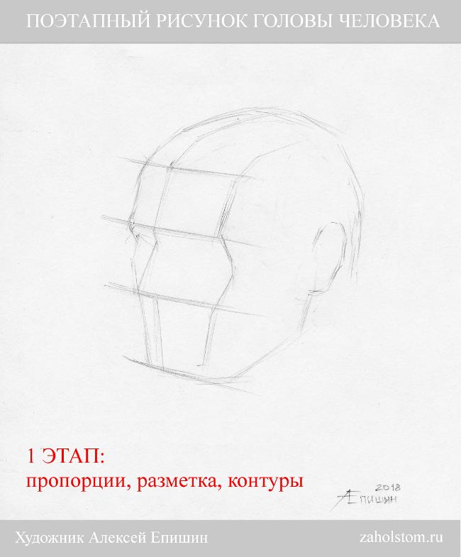 001 Поэтапный рисунок головы человека