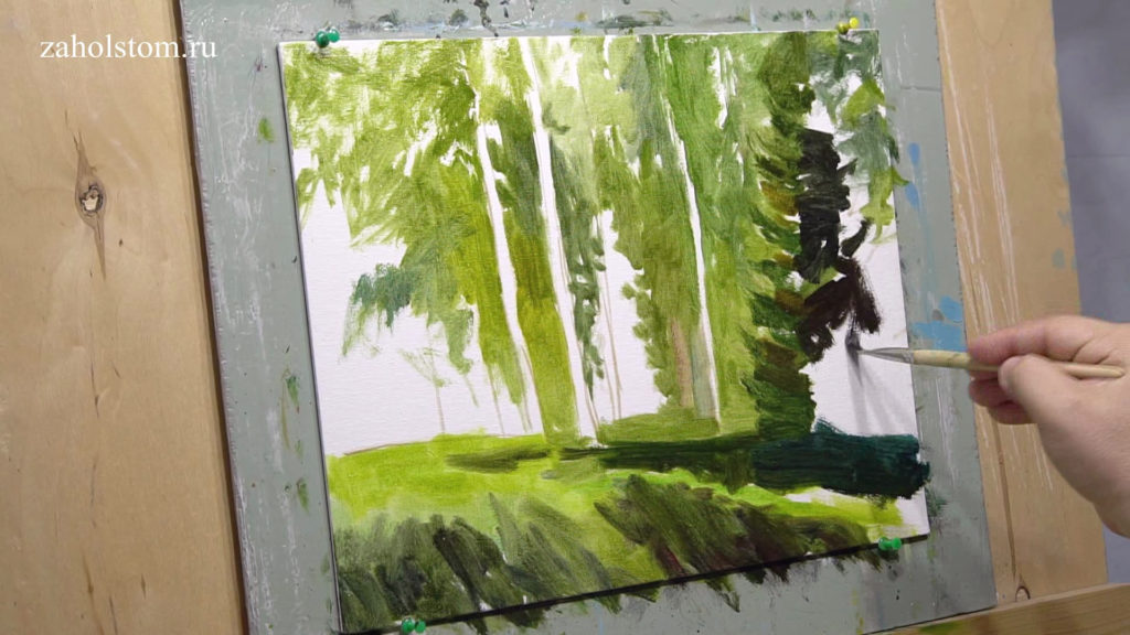 001 Уютный лес. Живопись маслом