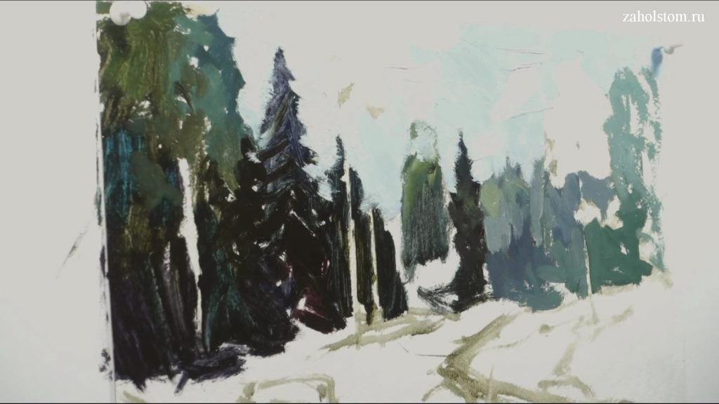 002 Живопись маслом. Пейзаж с рекой и лесом