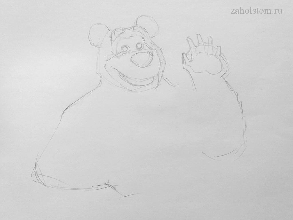 002 Маша и Медведь. Поэтапный рисунок карандашом