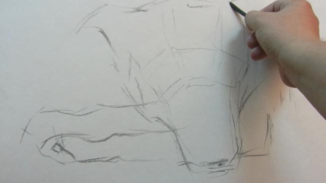 003 Взгляд молчаливого пса. Рисунок углем