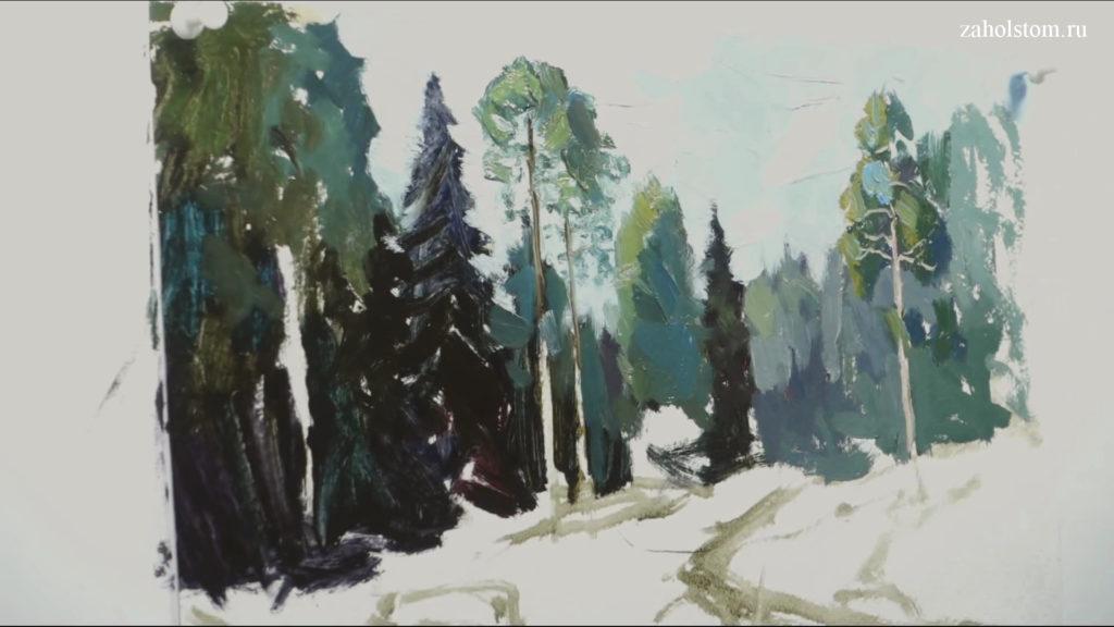 003 Живопись маслом. Пейзаж с рекой и лесом