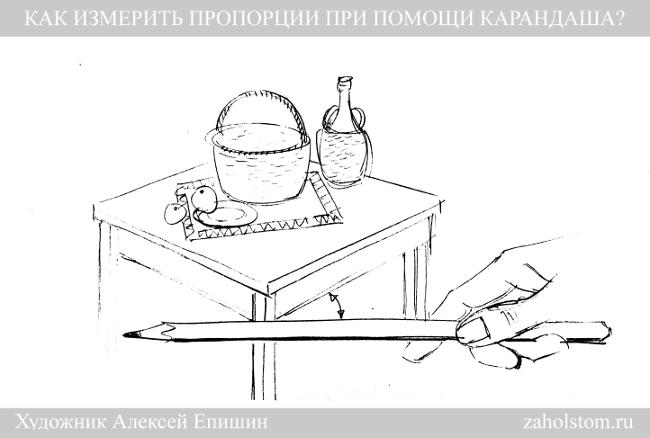 003 Как измерить пропорции при помощи карандаша