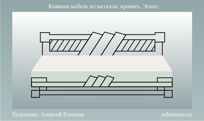 003 Кованая мебель из металла: кровать. Эскиз.