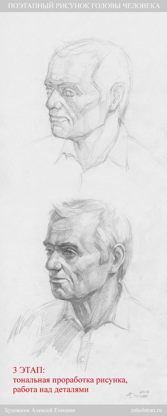 003 Поэтапный рисунок головы человека