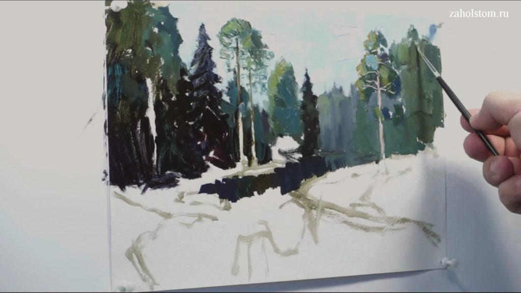 004 Живопись маслом. Пейзаж с рекой и лесом