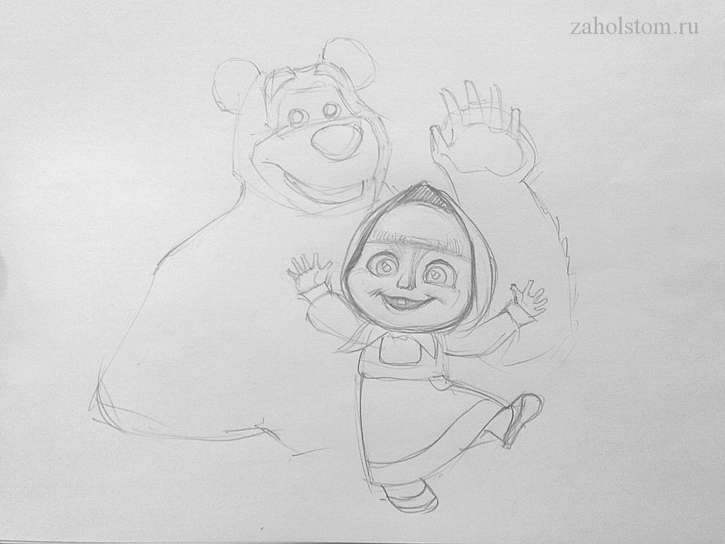 005 Маша и Медведь. Поэтапный рисунок карандашом