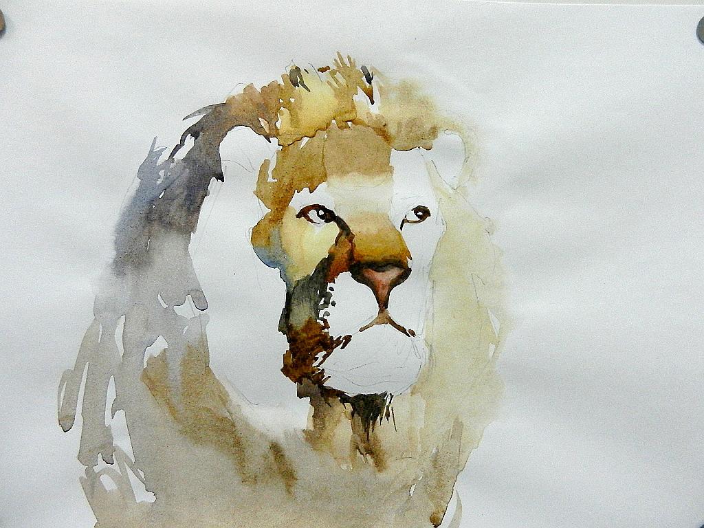005 Портрет льва. Живопись акварелью. Алексей Епишин
