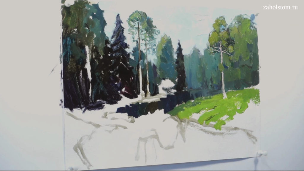 006 Живопись маслом. Пейзаж с рекой и лесом
