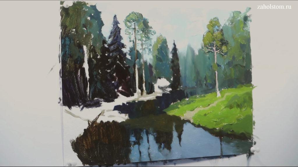 007 Живопись маслом. Пейзаж с рекой и лесом