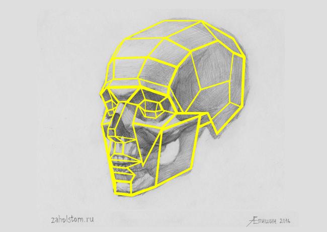 007 Как рисовать портрет. Сопоставление рисунка черепа с рисунком головы