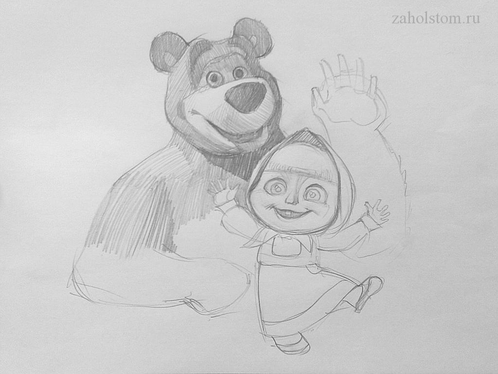 007 Маша и Медведь. Поэтапный рисунок карандашом