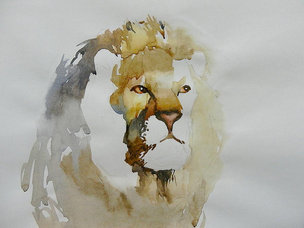 007 Портрет льва. Живопись акварелью. Алексей Епишин