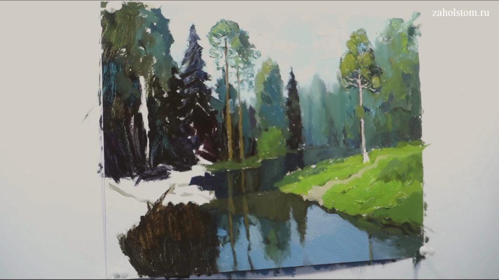 008 Живопись маслом. Пейзаж с рекой и лесом