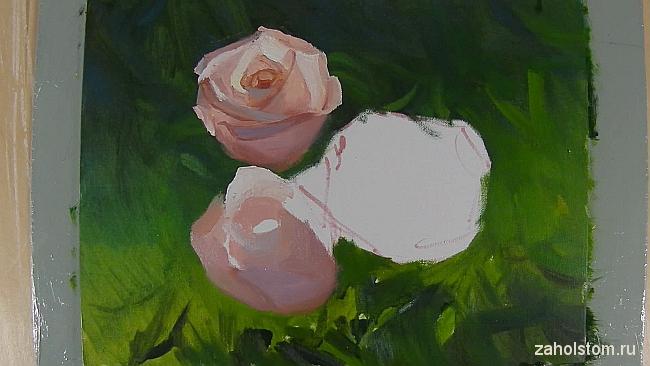 008 Живопись маслом. Розы в лучах солнца