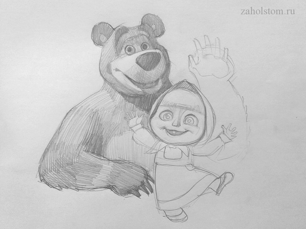 008 Маша и Медведь. Поэтапный рисунок карандашом