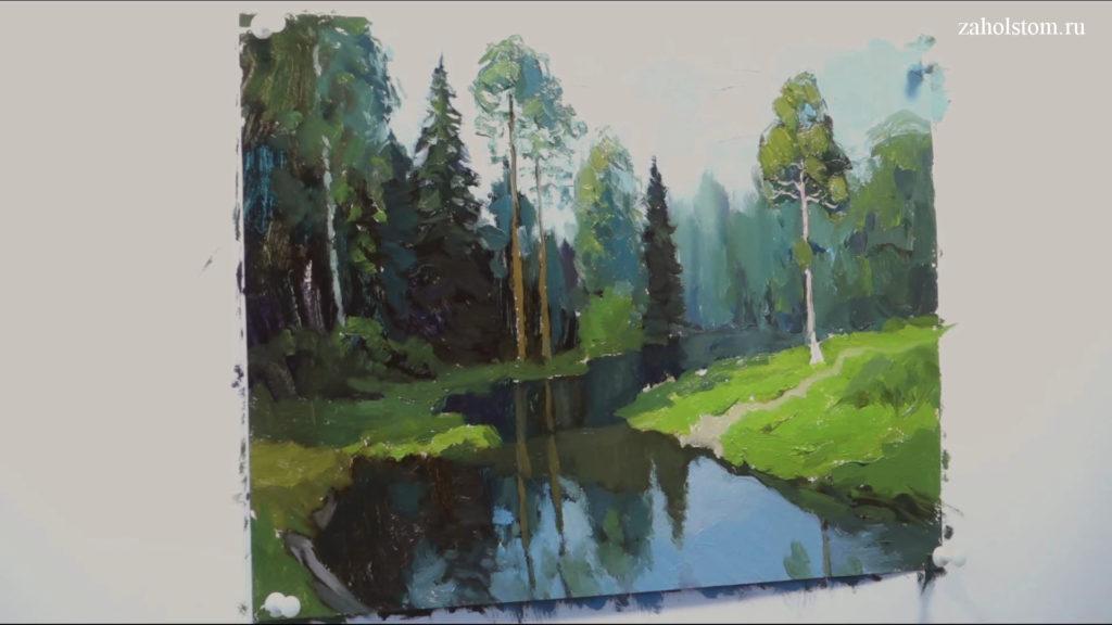 009 Живопись маслом. Пейзаж с рекой и лесом