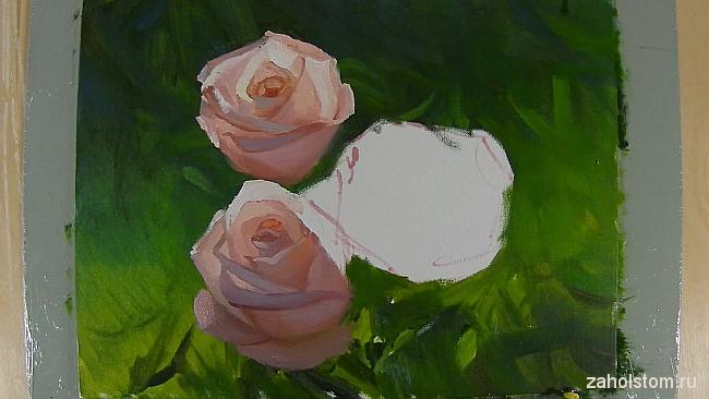 009 Живопись маслом. Розы в лучах солнца