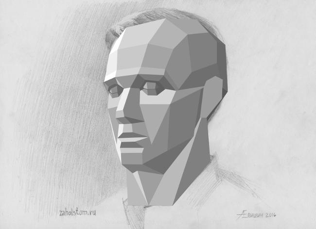 009 Как рисовать портрет. Обрубовка в рисунке головы человека