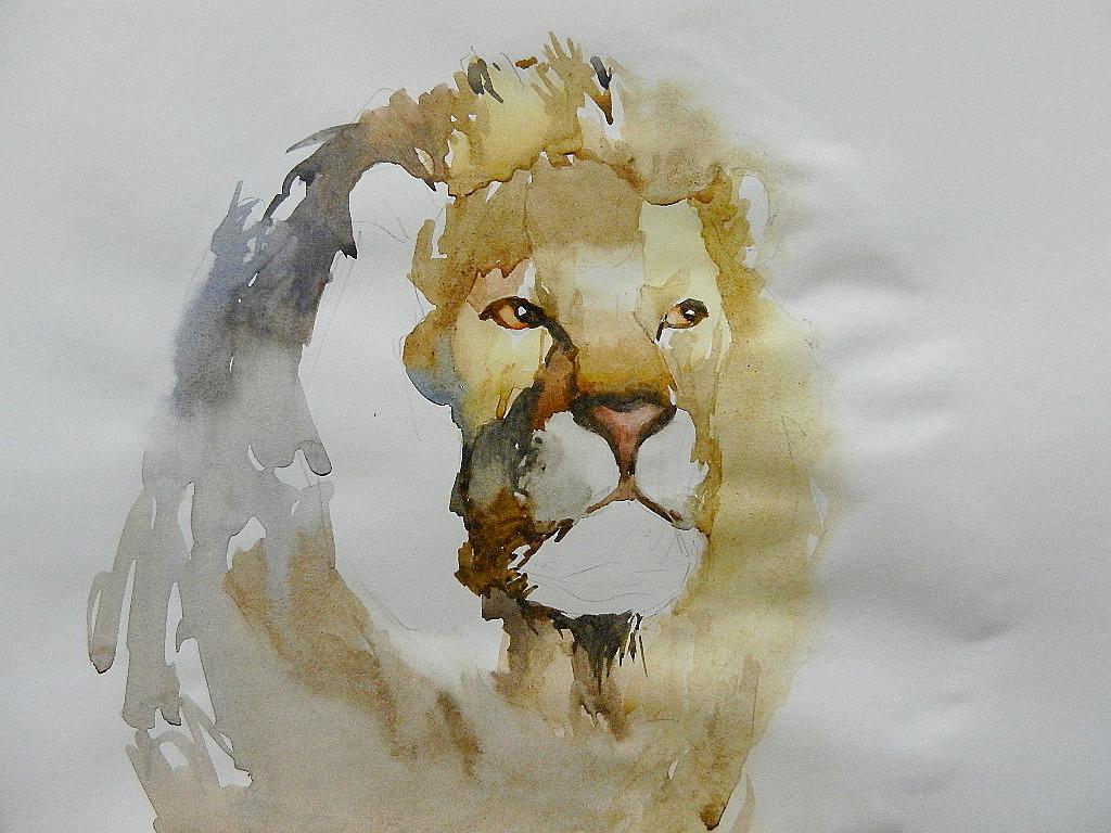 009 Портрет льва. Живопись акварелью. Алексей Епишин