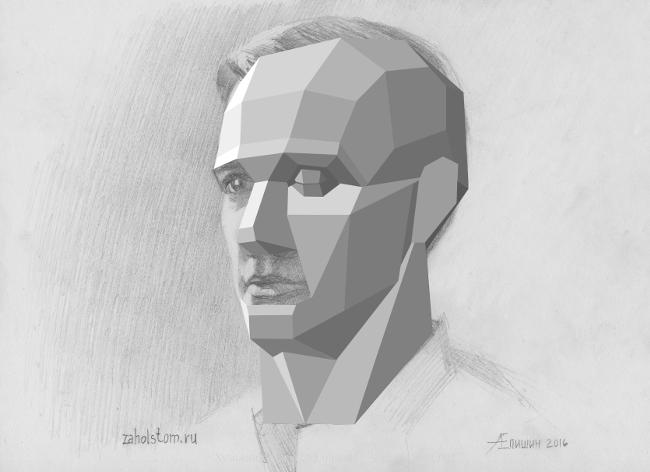 010 Как рисовать портрет. Сопоставление обрубовки и рисунка головы карандашом