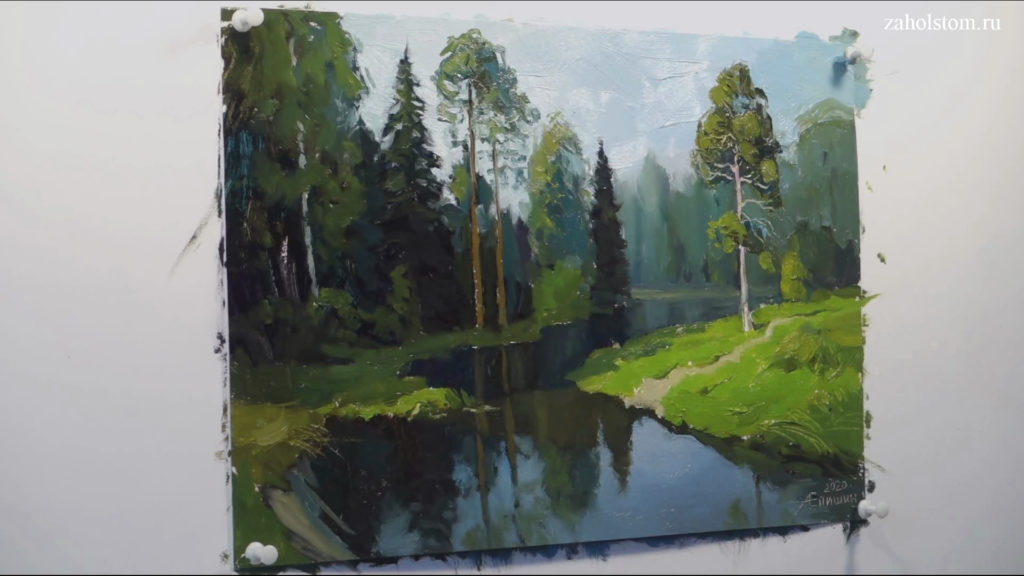011 Живопись маслом. Пейзаж с рекой и лесом