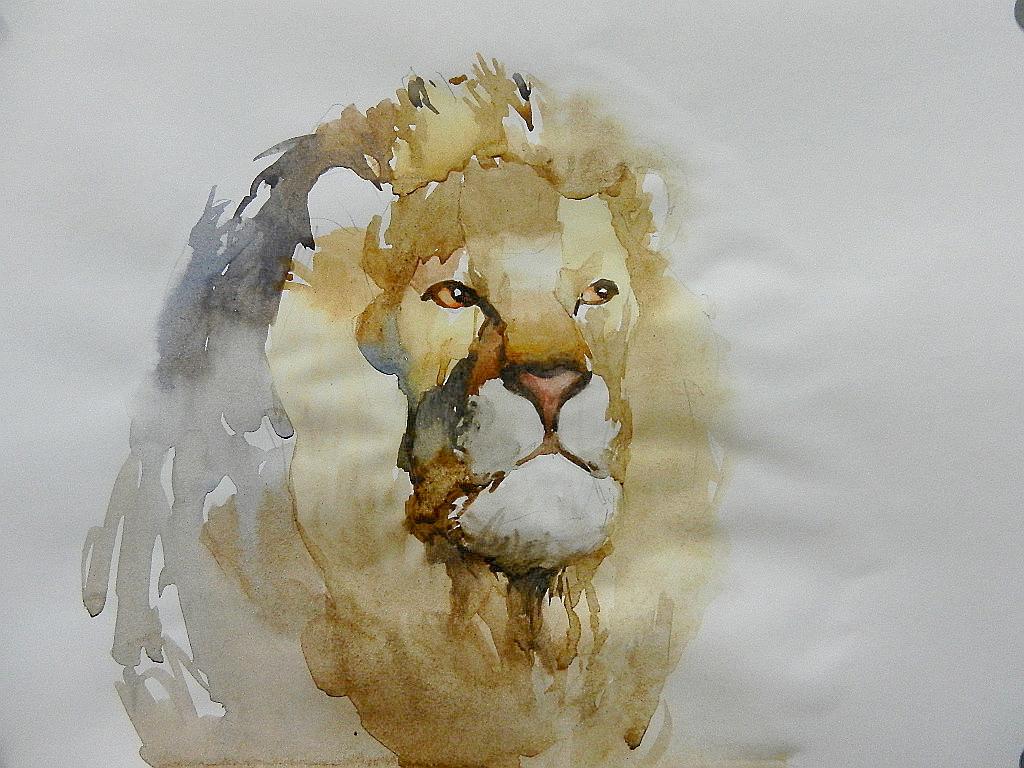 011 Портрет льва. Живопись акварелью. Алексей Епишин