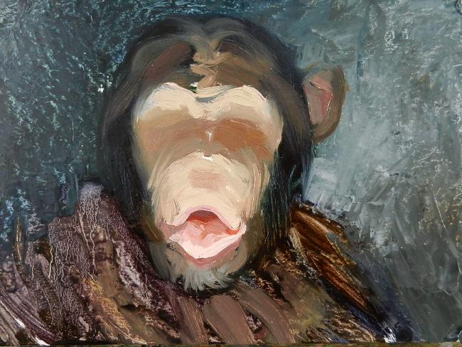 011 Портрет шимпанзе. Живопись маслом. Художник Алексей Епишин