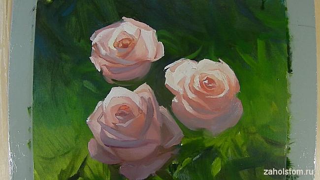 012 Живопись маслом. Розы в лучах солнца