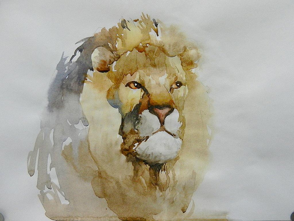012 Портрет льва. Живопись акварелью. Алексей Епишин