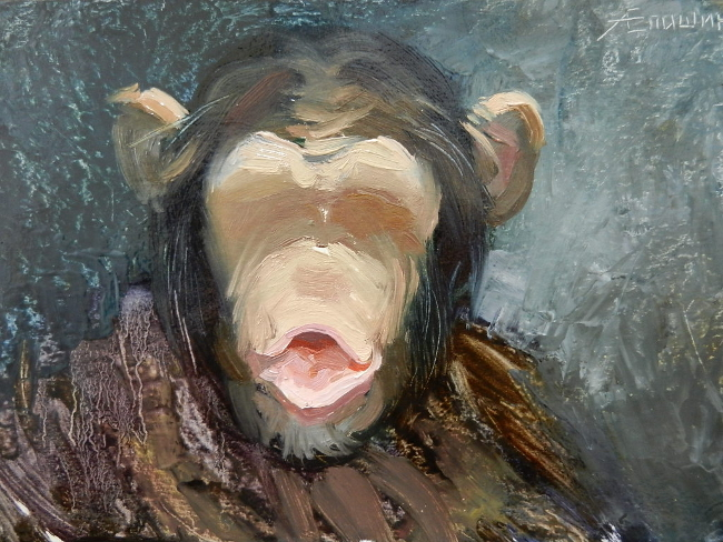 013 Портрет шимпанзе. Живопись маслом. Художник Алексей Епишин