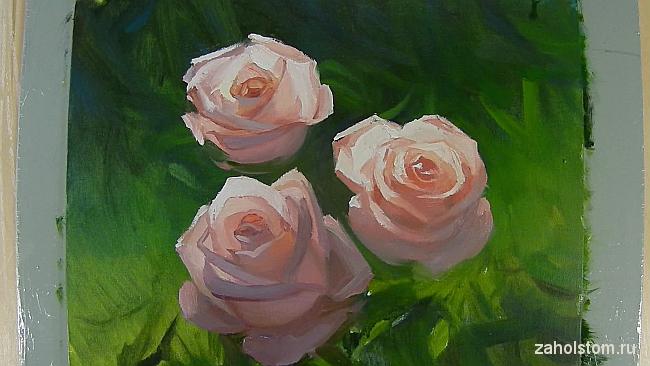 014 Живопись маслом. Розы в лучах солнца