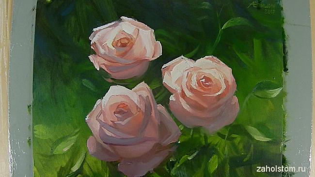015 Живопись маслом. Розы в лучах солнца