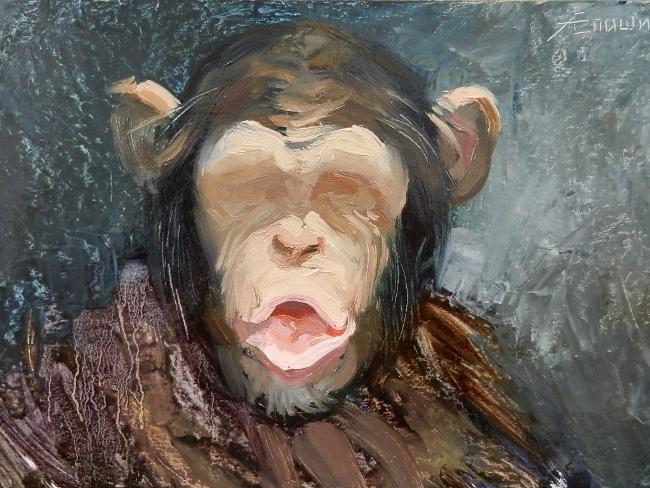 015 Портрет шимпанзе. Живопись маслом. Художник Алексей Епишин