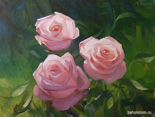 Живопись маслом. Розы в лучах солнца
