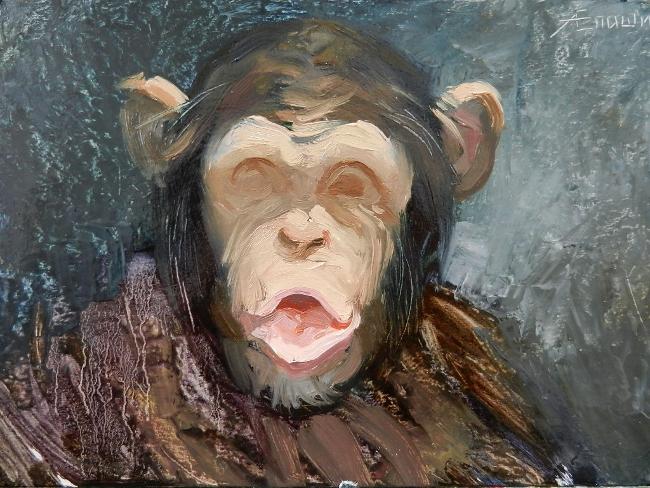 017 Портрет шимпанзе. Живопись маслом. Художник Алексей Епишин