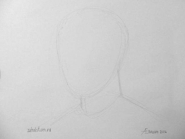 018 Как рисовать портрет. Поэтапный рисунок головы