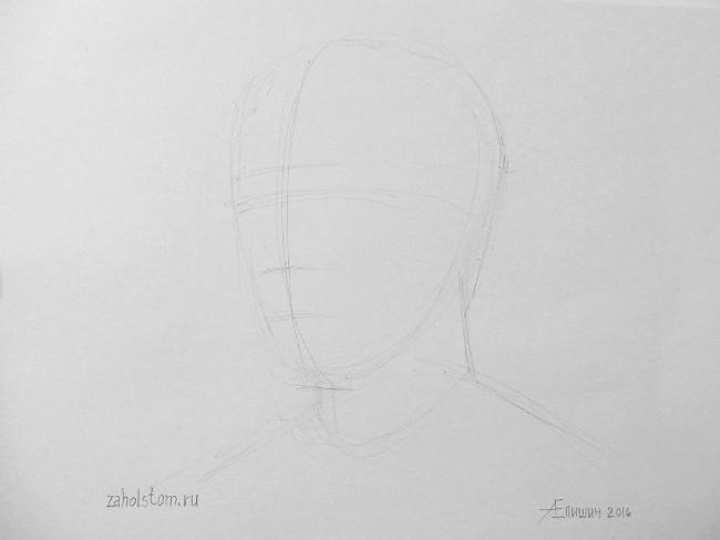 019 Как рисовать портрет. Поэтапный рисунок головы